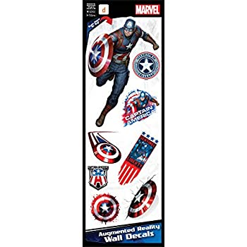 Captain America Marvel Avengers Augmented Reality Small Wall Decal Peel & Stick Removable Vinyl 8 Stickers
