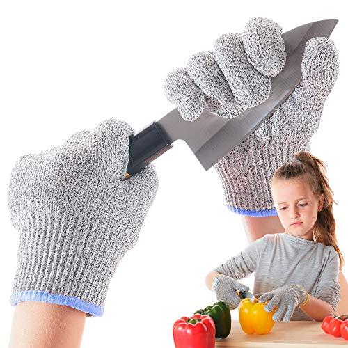 LauterSchutz® für Kinder: Schnittfeste Premium Handschuhe aus Kreuzfaser-PE-Stoff - Level 5 SCHNITTSCHUTZ [Deutscher Hersteller] Schnittsichere Handschuhe in Kindergrößen (L (6-11 Jährige))