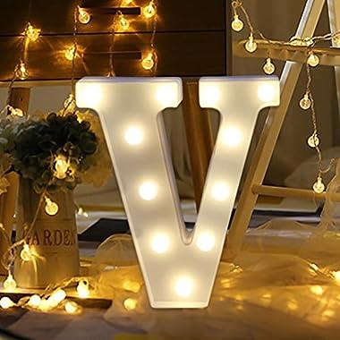 Light Up Letters,SMYTShop Warm White LED Letter Light Up Alphabet Letter Lights for Festival Decorative Letter Party Wedding (V)