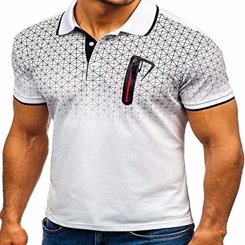 LSSM Polo De Solapa De Verano para Hombre, Estampado De Gradiente, DiseñO De Bolsillo Falso, Polo, Camiseta...