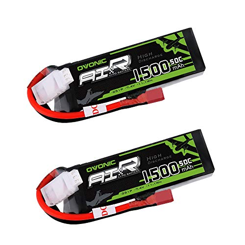 Ovonic 2 Packs 1500mAh 2S 7.4V 50C Lipo Battery Pack with Dean T Plug for RC Airplane Car Truck Truggy RC Hobby