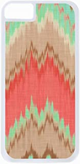 Coral and Mint Green Ikat Chevron- Case for The Apple iPhone 5-5s Universal-Hard White Plastic Outer Shell with Inner Soft Black Rubber Lining