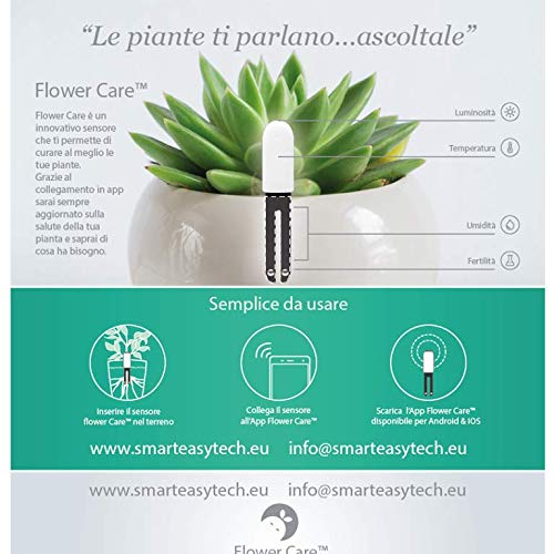 VegTrug for Xiaomi Plant Flower Care Versione Europea in tempo reale sensore per interni e esterni, impermeabile, pavimento fertilità, – gradi di umidità, luce e temperatura.