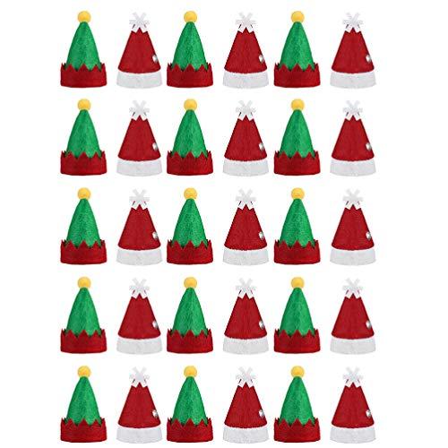 Amosfun 30 unids Mini Navidad Lollipop Hat Mini Santa Claus Sombreros Botella Candy Cover Cap Muñeca Artesanía Navidad Fiesta Suministros