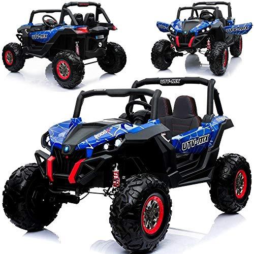 Kinder Elektroauto Elektrisches Kinderauto Geländewagen XMX603 Spider-Edition BLAU XXL - Zweisitzer - 4x45W - 2x12V Akkus - Doppel-Ledersitz - Spiralfederung - Lackierung - Eva-Gummireifen