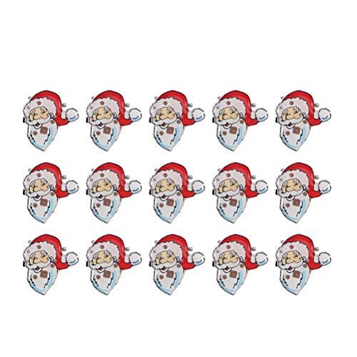 Chapas con luz para Navidad OULII LED Pin con Papá Noel Navidad luminoso para decoración de Navidad y regalos niños 25pcs