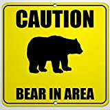 43LenaJon Warning Sign Caution Bear in Area Traffic Road Sign Business Sign 12x12 Aluminum Metal Tin Sign for Indoor Outdoor