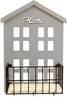HENGSHENG Key Holder Wood Wall Mounted.Mail, Letter Holder, Key Rack Organizer for Entryway, Kitchen, Office (Gray)