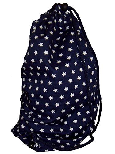 Maritimer Turnbeutel Wäschebeutel Hipster 100% Baumwolle Sterne Sternchen blau weiß -...