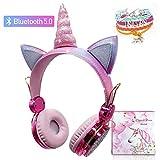 Auriculares inalámbricos para niños Unicorn, Auriculares Bluetooth Lindos Auriculares para niños con micrófono para Estudio en línea  Regalo de cumpleaños de Unicornio de Navidad(Bluetooth)