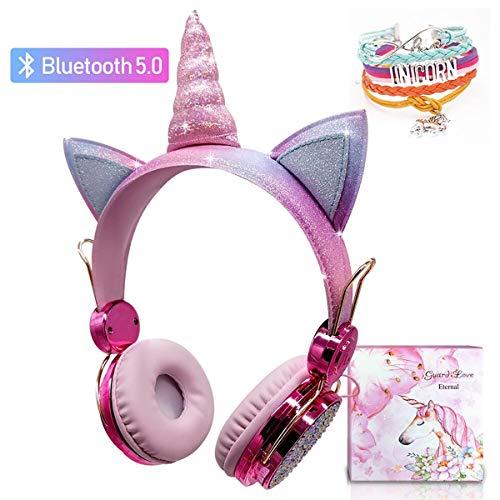 Kids Unicorn Kopfhörer kabellos, Mädchen Bluetooth Kopfhörer über dem Ohr, niedliche Kinder Headsets mit Mikrofon für Tablet Online-Studie für Mädchen Geburtstag Weihnachten Einhorn Geschenk