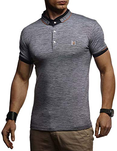 Leif Nelson Herren Sommer T-Shirt Polo Kragen Slim Fit Baumwolle-Anteil Basic Anthrazites Männer Poloshirts Longsleeve-Sweatshirt Kurzarm Weißes Shirt Kurzarmshirts lang LN4875 Anthrazit Medium
