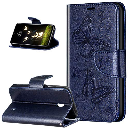 Leder Handyhülle für Nokia 2.2 Hülle,Relief Prägung Malerei Schmetterling Muster PU Lederhülle Flip Hülle Cover Ständer Bookstyle Wallet Tasche Hülle Leder Flip Schutzhülle für Nokia 2.2,Blau