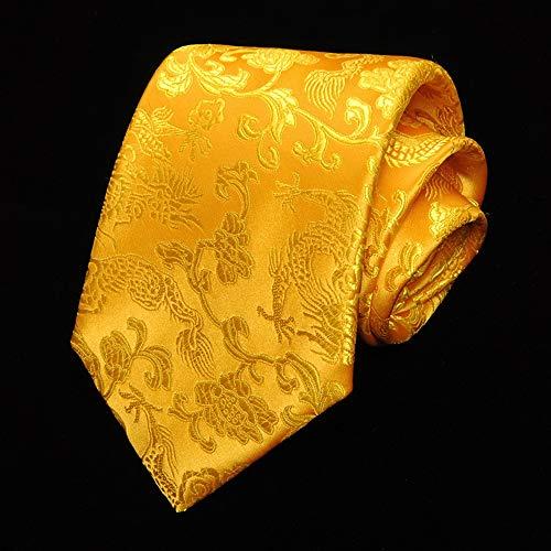 DIAOKUD Cravates Homme,Cravate 9Cm De Dragon De Calligraphie Vintage De Style Chinois Jaune, Memory Shaping Pas Facile À Froisser, pour Fête De Mariage, Rencontre
