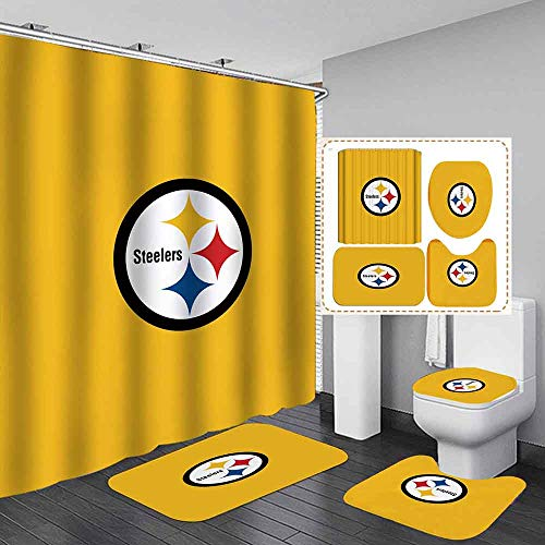 Steelers Theme Shower Curtain Set Theme Four Piece Set, with Hook Fabric Bathroom Decoration, Waterproof Accessories, Home Decoration Waterproof Machine Washable
