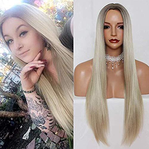 PlatinumHair Perruque complète de cheveux synthétiques blond platine longs raides racines marron clair raie 15,2 cm de profondeur sans colle sans dentelle pour femme 61 cm