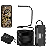 3mp 0.5mm 33ft Waterproof 6LED Snake Camera Semi-Rigid Cable Wireless Endoscope, Wi-Fi Borescope, Sturdy Case, 2800mAh Rechargeable, for iOS & Android Smartphone, Tablet, iPhone, iPad, etc