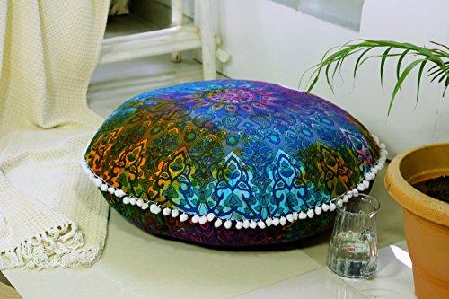 Popular Handicrafts Large Blue Hippie Mandala Floor Pillow Cover - Cushion Cover - Pouf Cover Round Bohemian Yoga Decor Floor Cushion Case- 32' Tie dye