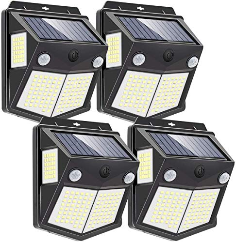 4 lámparas solares para exterior con sensor de movimiento,IP65, 3 modos inteligentes, 160 LED, 1000 lúmenes, 270 °, gran angular, iluminación para jardín, lámparas solares para exteriores