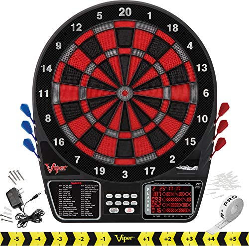 Viper 797 Electronic Dartboard, Quick Access To 301 And Countup From Button Interface, Extended Catch Ring, 11 Square Inch Scoreboard Display, Includes Darts And Extra Tips, 43 Games And 241 Options