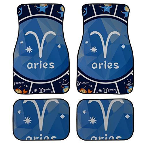 4 Pieces Floor Mat For Car Decorative Aries Zodiac Sign Symbol Car Floor...