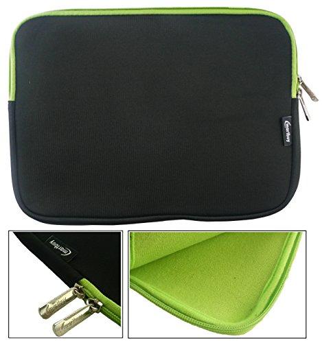 emartbuy® Schwarz/Grün Wasserdicht Neopren weicher Reißverschluss Kasten Sleeve Mit Grün Interieur&Zip geeignet für Acer Aspire One AO1-131 Cloudbook 11.6 Zoll (11.6-12.5 Zoll Laptop)