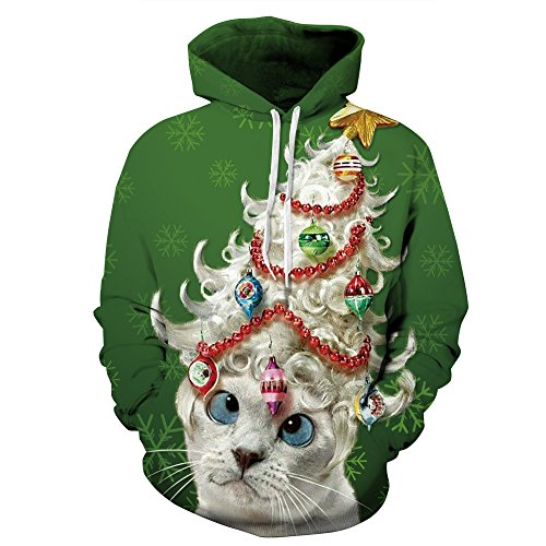 Cfanny Couple Cute 3D Santa Print Ugly Christmas Kangaroo Pocket Sweatshirt Hoodies Pullover (Lady Cat, XXXX-Large)