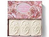 Rosa Bella, jabón de Rosa, pack regalo 3 pastillas de 125 g, Jabón italiano de Fiorentino