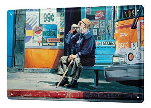 LEotiE SINCE 2004 Blechschild Georg Huber Retro US Nostalgie Deko Pause Bushaltestelle 20x30 cm