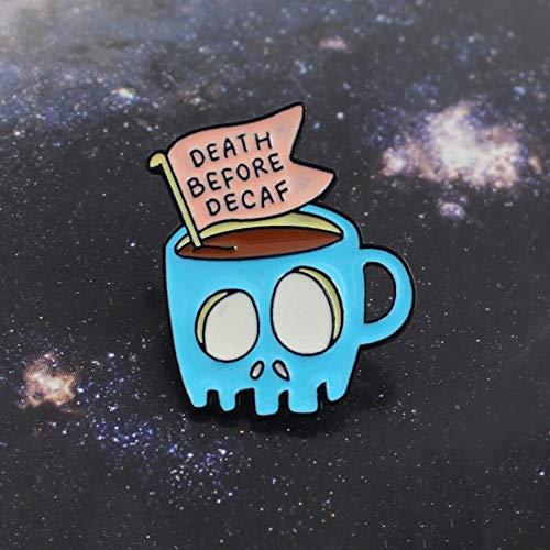 QISKAII Calavera Taza de café Banner Broche Taza de Esqueleto Azul Muerte...