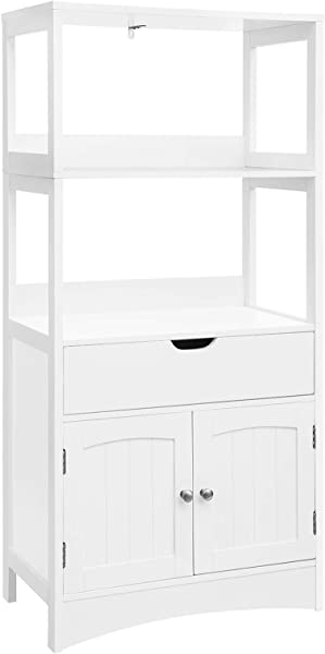 VASAGLE Bathroom Storage Cabinet With Drawer 2 Open Shelves And Door Cupboard Large Floor Cabinet In The Entryway Kitchen White UBBC64WT
