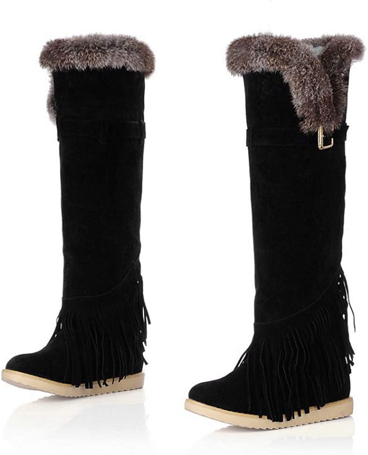 Hoxekle Snow Boots Women Flats Over The Knee Thigh High Boots Slip on Buckle Winter Thermal Female Warm Fringed shoes