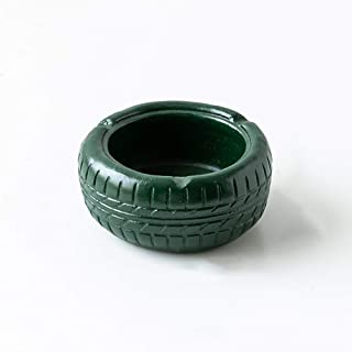 Ruiy Portable Indoor and Outdoor Ashtrays, Tire Styling, Cement Ashtrays, American-Style Ashtrays, Ashtrays, Desktop Home Office Ornaments, Ashtrays, Gifts for Men and Women (Color : Green)