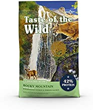 Taste of the Wild Rocky Mountain Grain-Free Recipe with Roasted Venison and Smoked Salmon Dry Cat Food for All Life Stages, Made with High Protein, Superfoods and Guaranteed Nutrients 14lb