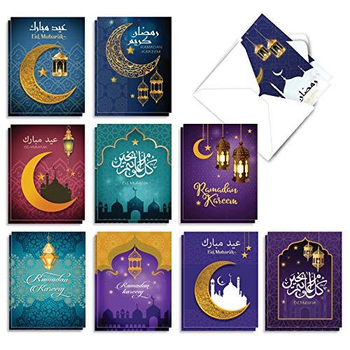 Price comparison product image The Best Card Company - 20 Religious Ramadan Cards (4 x 5.12 Inch) - Muslim,  Islamic Boxed Set (10 Designs,  2 Each) - Ramadan Wishes AM7035RDB-B2x10