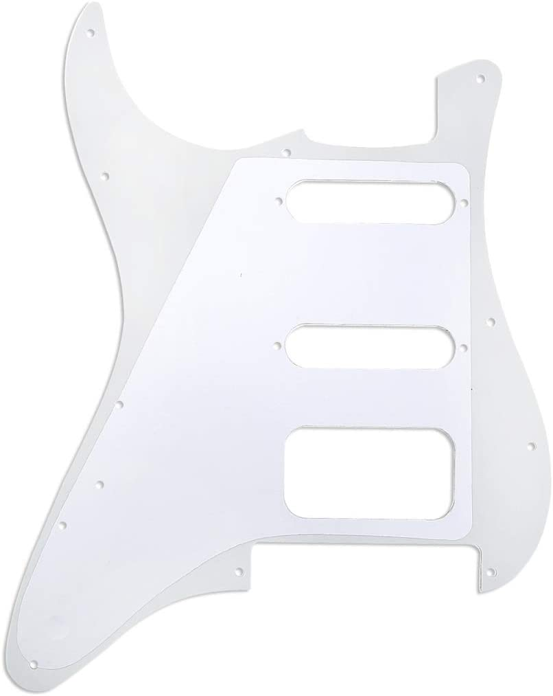 Musiclily Pro 11-Hole Round Corner HSS Guitar Strat Pickguard for American//Mexican Fender Stratocaster Open Pickup with Floyd Bridge Cut,3Ply Mint Green
