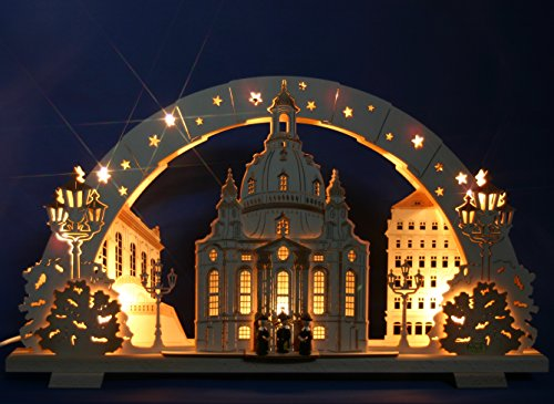 3D Schwibbogen Exclusiv schattiert, 53cm, Frauenkirche Dresden mit Kurrende Handarbeit Erzgebirge erzgebirgischer