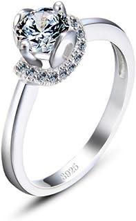 lem Abrillantador de anillosAnillos de Boda de Plata de Ley 925 Anillos de Compromiso de Diamantes simulados Regalo Ideal ...