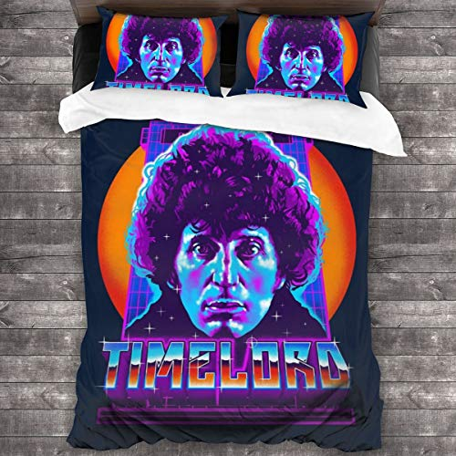 KUKHKU Timelord Fourth Doctor Who 3 Pieces Bedding Set Duvet Cover 86'x70', Decorative 3 Piece Bedding Set With 2 Pillow Shams