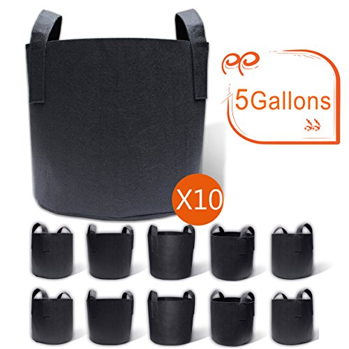 Gardzen 10-Pack 5 Gallon Grow Bags, Aeration Fabric Pots with Handles