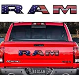YFBB Etiqueta engomada de Las señales de la Insignia de Las Letras de RAM de la Puerta Trasera del Coche, para Dodge Ram 1500 2500 3500