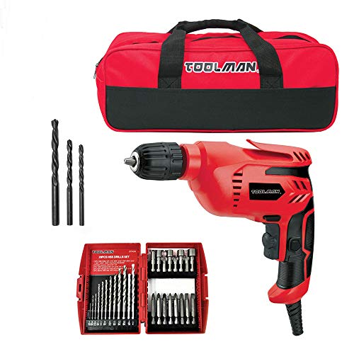 Toolman 3/8'' 5A Electric Power Drill Driver with 28pcs drill set and tool bag DB5207D