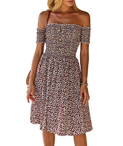 xxxiticat Tops Mujeres Sexy Vestido 2021 Primavera y Verano One Shoulder Floral Dress Productos Top Mujeres Túnica sin Mangas Crop Tops para Mujeres Niñas marrón L