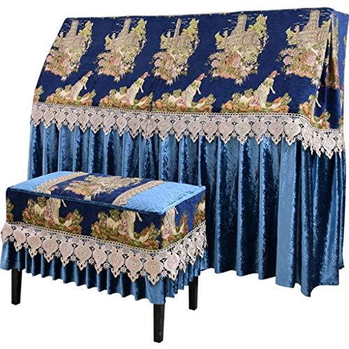 Gordijn Ontwerp Piano Cover Met Kruk Cases Rechtopstaande Piano Stofdoek Muzikaal Instrument Elektronische Toetsenbord Bescherming Cover Voor Yamaha Kawai-US (Kleur : Blauw)