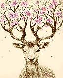 ZXDA Lucky Deer DIY Pintura Digital al óleo por números Kits acrílico Abstracto Pintura de Arte Moderno por números para Adultos decoración del hogar A1 50x65cm