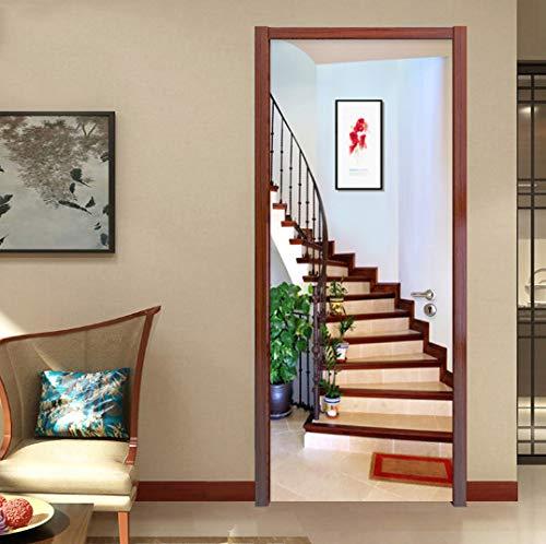 Türaufkleber Wandbild, Wandtüraufkleber Modern Creative Spatial Expansion Stairs Wallpaper Selbstklebende wasserdichte 3D-Türwandbilder Home Decals