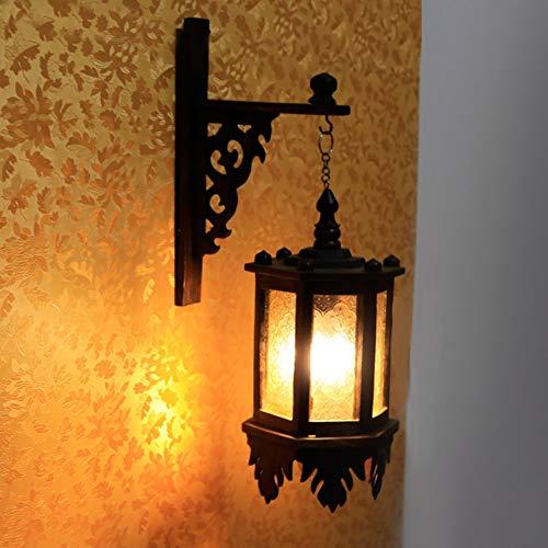 Wandleuchte Massivholz Wandleuchter Retro Massivholz Innenhof Glas Kronleuchter Hotel Dekoration Lampe