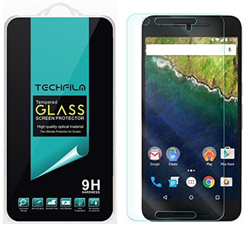 TechFilm Huawei (Google) Nexus 6P [Tempered Glass] Screen Protector (Updated Version With Proximity Sensor Cut Out) Ballistic Glass Round Edge [0.3mm] Anti-Fingerprint, Bubble Free - Retail Packaging