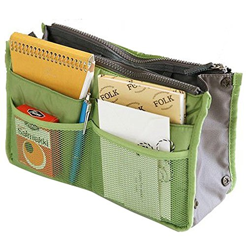Bolsa de mano en bolsa, organizador de inserto, organizador de viaje, bolsa de maquillaje
