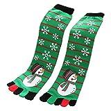 SUNSHNE Women Unisex Christmas Five Toe Finger Socks Colorful Snowman Cartoon Long Ankle Xmas Supplies